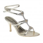 gold diamante strappy evening sandals