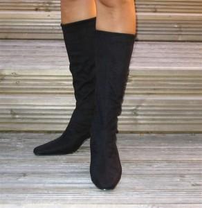 black ladies stretch boots black