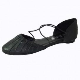 Alice Black Leather Ballet Style Shoe