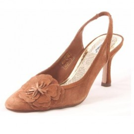 Angelina Brown Suede Heeled Slingback Shoes