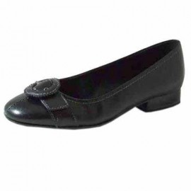 Anita Black Leather Flat Ladies Shoes