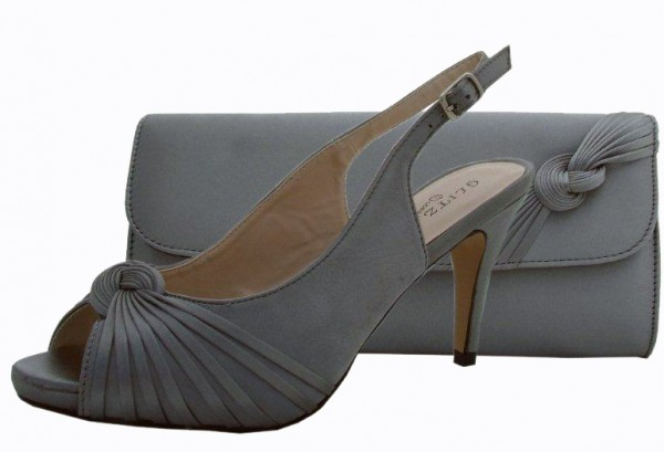 Pewter Wedding Shoes And Bag