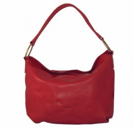 Auchamo Italian Red Leather Slouch Bag