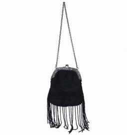 Antique Black Satin & Bead Handbag
