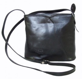 Messenger Style Black Leather Handbag