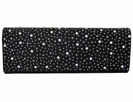 Black Satin & Diamante Encrusted Flap Clutch Bag