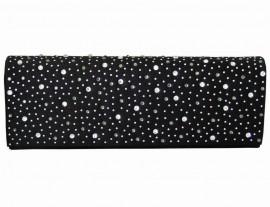 Black Satin & Diamante Encrusted Flap Clutch Bag