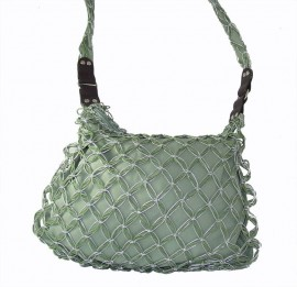 Green Straw Shoulder Bag with Twisted Silver