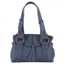 Xude Mermaida Leather zip flap over bag in Petrol