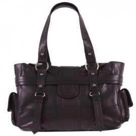 Xude Obsidian Black Leather Handbag