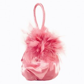 Pink Satin Feather & Diamante Evening Bag