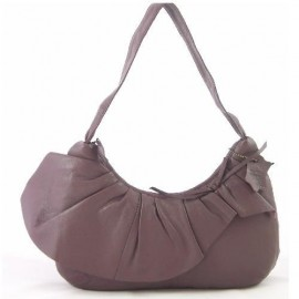 Leather Ruffle Scoop Bag Heather Purple