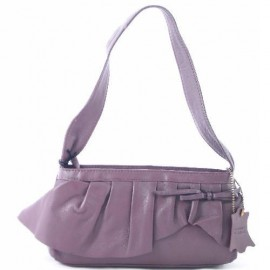 Small Leather Ruffle Bag Heather