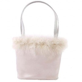 Evening Bag in Pale Silver Satin & Feather