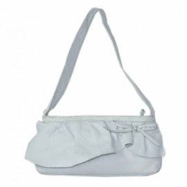 Small leather Ruffle Bag White