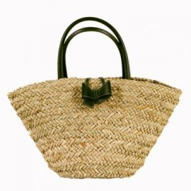 Summer Straw Bag with Black Bow