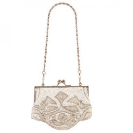 White & Silver Beaded Evening Bag