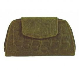 Brown Leather Moc Crocodile Coin Purse