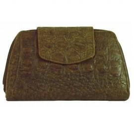 Brown Leather Moc Crocodile Wallet