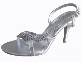 Carrie Silver Diamante Ladies Sandals