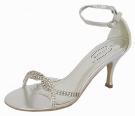 Cathleen Diamante Silver Evening Sandals