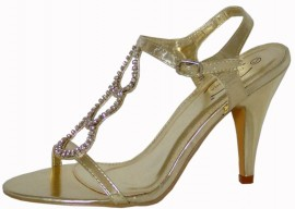 Celeste Gold Diamante Evening Sandals