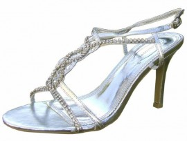 Christine Diamante Silver Evening Sandals