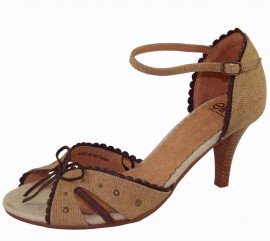 Cirila Beige Canvas & Leather Heeled Sandal