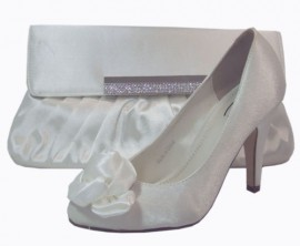 Claire Ivory Satin Heeled Ladies Shoe