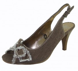 Clarette Brown Linen & Leather Peep Toe Shoe