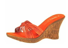 Colette Papaya Leather Wedge Heel Mule