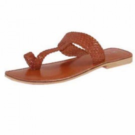 Dina Tan Leather Toe Post Sandals
