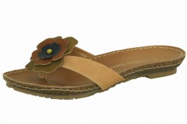 Edith Natural Brown Leather Toe Post Sandals
