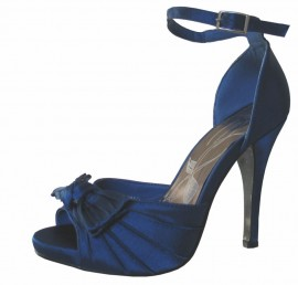 Eliza Midnight Blue Satin Peep Toe Shoe