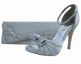 Eliza Silver Satin Peep Toe Shoes