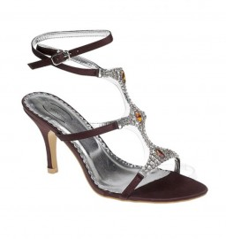 Faith Diamante Brown Evening Sandals
