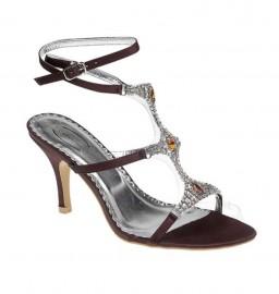 Faith Diamante Brown Evening Sandals