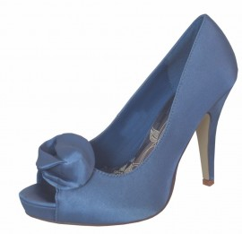 Fay Blue Satin Peep Toe Shoes