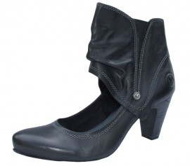 Fiona Black Leather Cuff Ladies Shoes