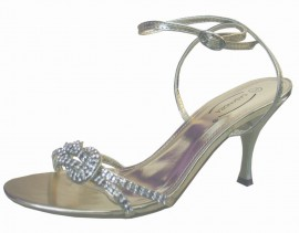 Flavia Diamante Gold Evening Sandals
