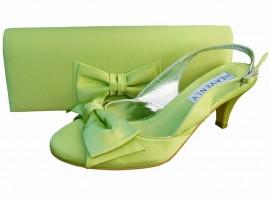 Twee Lime Green Satin Clutch Bag