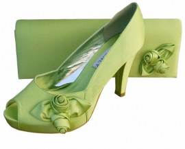 Rosebud Lime Green Satin Clutch Bag
