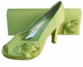 Rosebud Lime Green Satin Clutch Bag