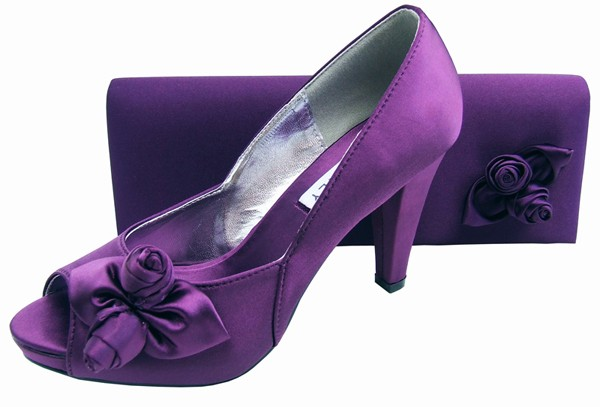 Ladies Aubergine Purple Evening Shoes Sole Divas