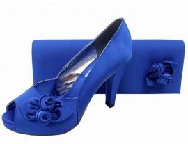 Rosebud Royal Blue Satin Clutch Bag