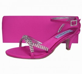 Theresa Low Heel Pink Fuchsia Evening Sandals