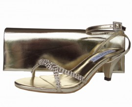 Theresa Low Heel Gold Evening Sandals