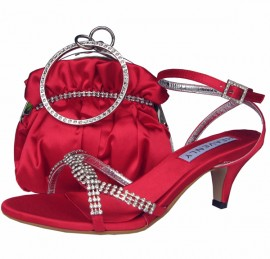 Theresa Red and Diamante Low Heel Sandals