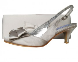 Twee Palomino Pale Silver Satin Slingback Ladies Shoes
