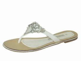 Helena White Diamante Toe Post Sandals